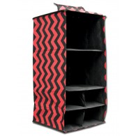 6 Pocket Hanging Accessory Caddy - Red Chevron