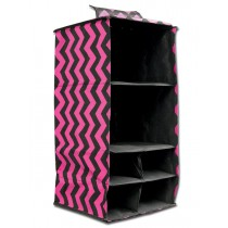 6 Pocket Hanging Accessory Caddy - Pink Chevron