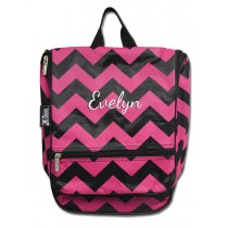 Hanging Cosmetic Case - Pink Chevron with Personalization