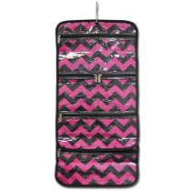 Hanging Cosmetic Roll - Pink Chevron