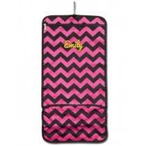 Hanging Cosmetic Roll - Pink Chevron with Personalization