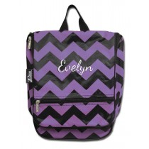 Hanging Cosmetic Case - Purple Chevron with Personalization