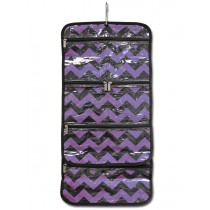 Hanging Cosmetic Roll - Purple Chevron