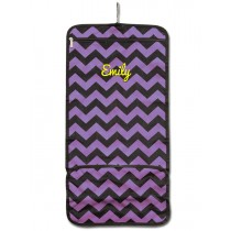 Hanging Cosmetic Roll - Purple Chevron with Personalization
