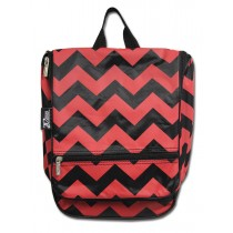 Hanging Cosmetic Case - Red Chevron