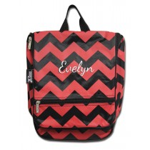 Hanging Cosmetic Case - Red Chevron with Personalization