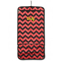 Hanging Cosmetic Roll - Red Chevron with Personalization