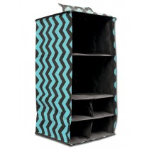 6 Pocket Hanging Accessory Caddy - Teal Chevron
