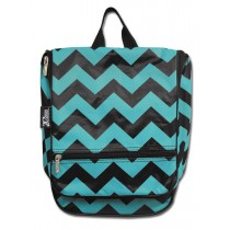 Hanging Cosmetic Case - Teal Chevron