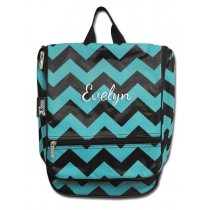 Hanging Cosmetic Case - Teal Chevron with Personalization