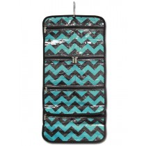 Hanging Cosmetic Roll - Teal Chevron