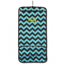 Hanging Cosmetic Roll - Teal Chevron with Personalization