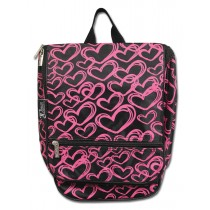 Hanging Cosmetic Case - Pink Hearts