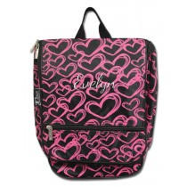 Hanging Cosmetic Case - Pink Hearts with Personalization
