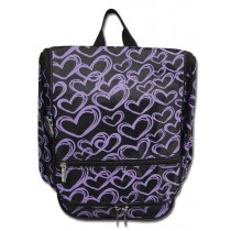 Hanging Cosmetic Case - Purple Hearts