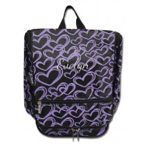 Hanging Cosmetic Case - Purple Hearts with Personalization