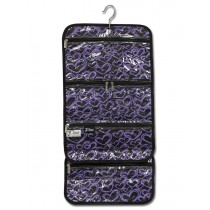 Hanging Cosmetic Roll - Purple Hearts
