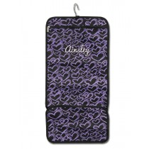 Hanging Accessory Roll - Purple Hearts with Personalization