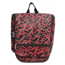 Hanging Cosmetic Case - Red Hearts