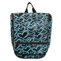 Hanging Cosmetic Case - Teal Hearts with Personalization